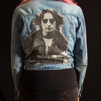 Upcycled Denim Jacket (Womens Small S) with Hand-Painted Flower and Hand-sewn John Lennon Back Patch