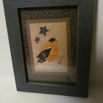 Primitive Quilt Picture Frame Primitive Decor Primitive Star Wood Frame Picture Yellow Chickadee  Rustic Cabin Decor Rustic Picture frame