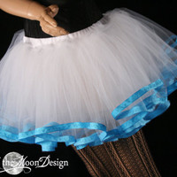 White Sky tutu petticoat skirt adult ribbon trim costume extra poofy carnival petticoat bridal dance - You Choose Size - Sisters of the Moon