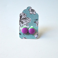 Stud Earrings - Plum Purple and Pastel Green Stud Earrings - Tiny Stud Earrings - Post Earrings - Colorful Earrings - Handmade Enamel Studs