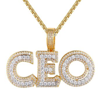 Men's 3D Double Layer CEO Hustler Gold Tone Bling Pendant