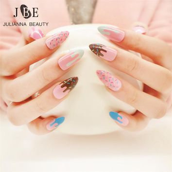 24Pcs/Set Nail Art Printing Full Cover Oval Sharp End Stiletto False Fake Nails Tips Manicure Nails Salon False Nails With Glue