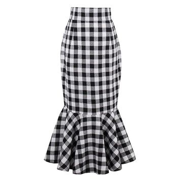 Atomic Plaid Package Hip Fishtail Skirt