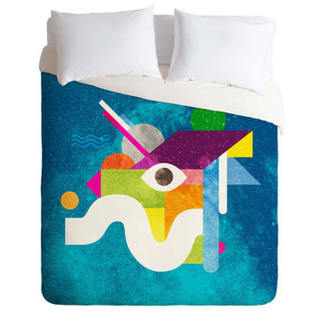 Nick Nelson Space Face Blue Duvet Cover