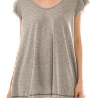 Short Sleeve High Low Grey Top