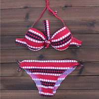 Womens Halter Pink Dots Printed Bikini Set Swimwear Swimsuit for Summer