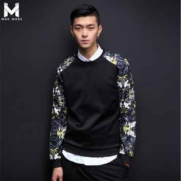 MOK MORS M 2017 Spring Autumn Fashion Brand Men Patchwork Floral Print Long Sleeve Hoodie O-Neck Pullover Mens Sweatshirt