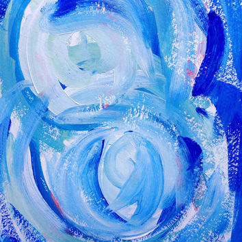 Abstract blue ocean summer acrylic painting (original) / Summer decor