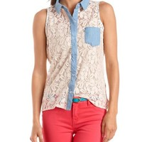 Chambray Trim Sheer Lace Tank: Charlotte Russe