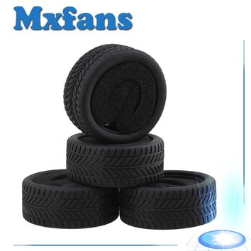 Mxfans 4pcs Black Rubber Tyre for RC 1:10 On Road Racing Car Model Car Spare Parts Tire