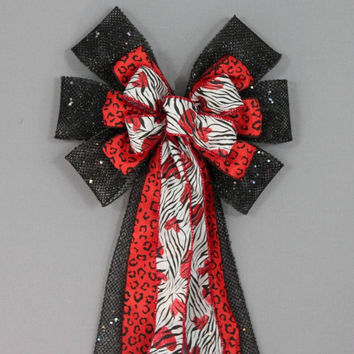 Red Heart Jungle Valentine's Day Bow