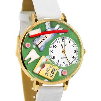 Dental Assistant White Leather And Goldtone Watch