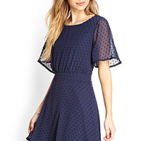 FOREVER 21 Swiss Dot Skater Dress Navy