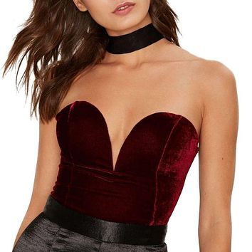 Women Velvet Lace Up Backless Sexy Bodysuit Bodycon Overall Romper Female Jumpsuit S-XL