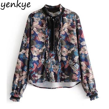 Women Vintage Floral Printed Blouse Shirt Bow Tie Stand Collar Long Sleeve Casual Tops