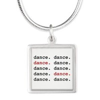 dance. Silver Square Necklace