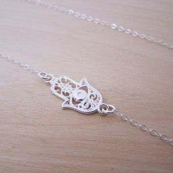Hamsa Hand Sterling Silver Necklace - Yoga Necklace - Dainty Sterling Charm Necklace - Namaste Necklace - Yoga Jewelry - Gift for Her