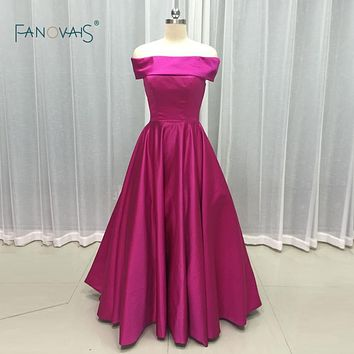 New design 2017 Elegant Fushia Satin Boat Neck off Shoulder Lace up Prom Dress A Line Custom Party Wear Gowns PB08