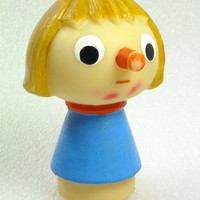Vintage Pinocchio Buratino Rubber Toy Russian Soviet Rubber Baby Bath Toy Chew Toy, CCCP