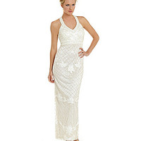 Sue Wong Beaded Halter Gown - Ivory