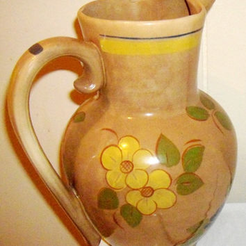 Vintage Red Wing Pottery Pitcher, 1950s collectible RARE hand painted glazed pitcher
