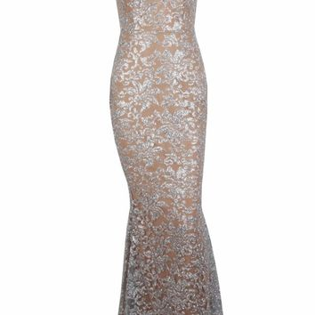 Honey Couture GRETA Silver/Nude Lace & Glitter Overlay Mermaid Formal Gown Dress