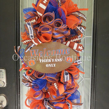 Auburn Tigers  Football Wreath, Auburn Door Hanger, Football Party, Front door wreath, Door Swag, War Eagle