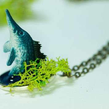 "Blue Fish Handemade Pendant Necklace | ""Barnaby the Blue Marlin"" 