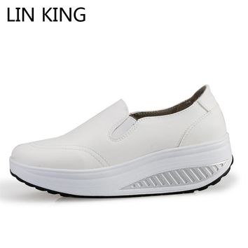 LIN KING Swing Shoes Breathable PU Leather Flat Women Platform Shoes White Soft Nurse Shoes Woman Work Cut-out Spring Shoes