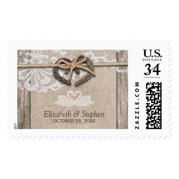 Rustic Wood Sunflowers Elegant Lace Wedding Shower Postage