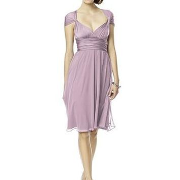 Dessy Marcaine Jersey Short Twist Wrap with Chiffon Overskirt Bridesmaids Dress