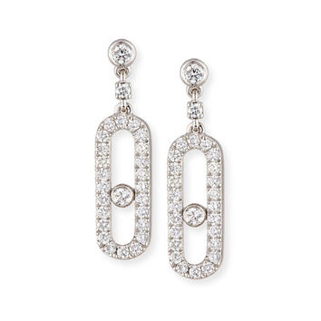 Messika Move Uno Diamond Drop Earrings in 18K White Gold