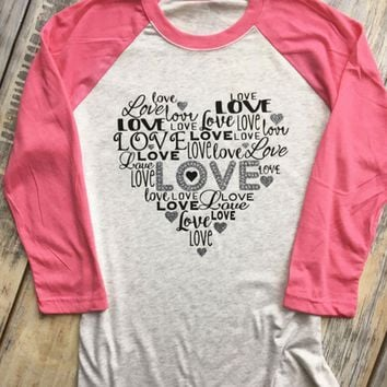 Woman's LOVE Valentine's Day Three Quarter Sleeve Baseball T-Shirt