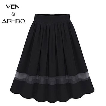 VA Plus Size New 2017 Summer Women Black Blue Pleated High Waist Elastic Waist Knee Length Tutu Midi Skirt Clothing Faldas