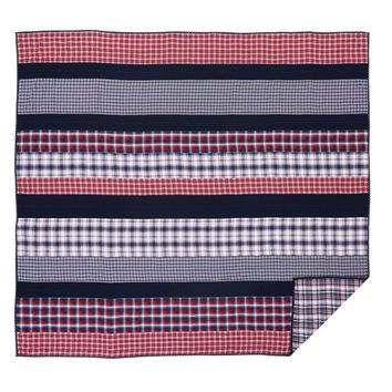 Carter - Queen - Americana Patchwork Quilt - Ashton & Willow - Cherry Red, Navy & Snow White Plaids! - Spring 2017