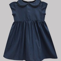 Midnight Navy Pinstripe Angela Dress - Infant