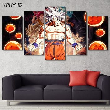 YPHYHD 5 Piece Dragon Ball Modern Picture Canvas Painting Living Room Decor Wall Art Anime Cartoon Poster HD Printed Framework