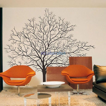 Large winter Tree Wall Decals vinyl white Trees Decal Nursery Tree Wall Decals for living deocr
