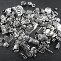 CLEARANCE DISCOUNT, Destash, Silver Beads, Metal Beads, Mixture of Jewelry Supplies Mostly Beads - LOT 1 - Shiny Antique Silver Plated