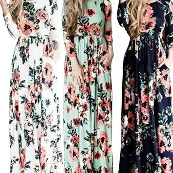 NEW Women Summer Casual Long Sleeve Evening Party Beach Dress Long Maxi Dress
