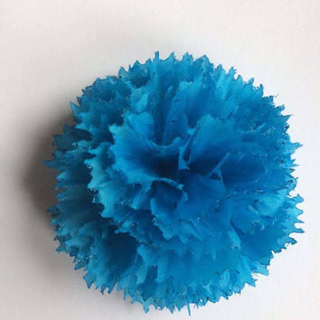 Handmade blue Fabric Carnation Flower Lapel Pin Boutonniere Corsage. Tweed ride wedding groom real gentlemen must have!