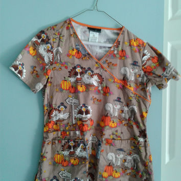 Cherokee Wild About Thanksgiving Mock Wrap Print Scrub Top