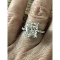 14K White Gold 4CT Emerald Cut Moissanite Diamond Solitaire Engagement Ring