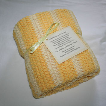 100% Cotton Hand Crocheted Baby Afghan - Yellow Stripes & Clusters All Cotton Baby Blanket - Free Shipping
