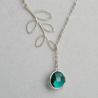 Silver Lariat Necklace  Silver Leaf and Sea Green by DanaCastle