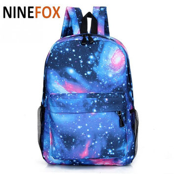 2017  Women backpack  Stars Universe Space printing backpack School Book Backpacks British flag Stars bag Mochilas Feminina