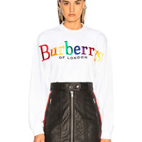 Burberry Rainbow Logo Terry Sweatshirt in White | FWRD