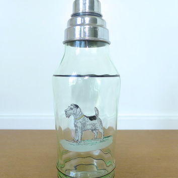 Large vintage fox terrier cocktail shaker, green glass