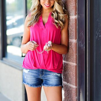 * Look At Me Now V Neck Blouse : Hot Pink
