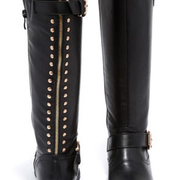 Luck Would Have It Studded Black Knee High Boots